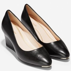 Cole Haan Grand Ambition Black Leather Wedge Pumps